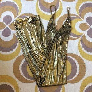 NWT - American Apparel Metallic Gold Maxi Dress